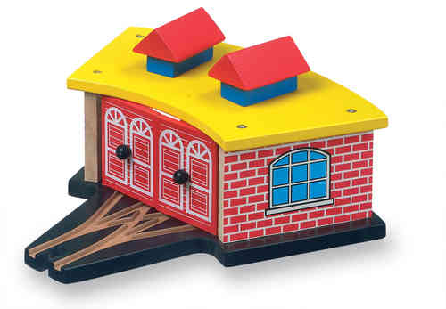WOODEN TOY RAILWAY TRIPLE LOCOMOTIVE ENGINE SHED