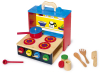 Wooden Toy Mobile Kitchen Cooker  Playset And Accessories Pots Utensils