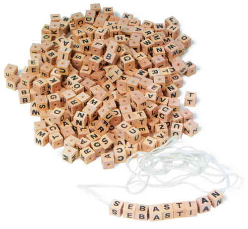 Wooden Jewellery Letter Cubes 8 mm