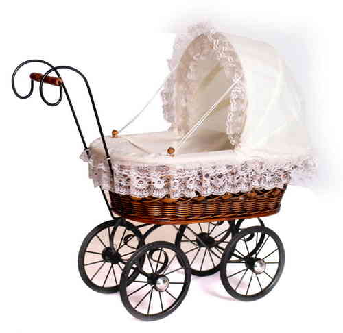 ANTIQUE STYLED TOY DOLL'S  TRADITIONAL WICKER PRAM  GIRLIE GIFT KIRKINTILLOCH