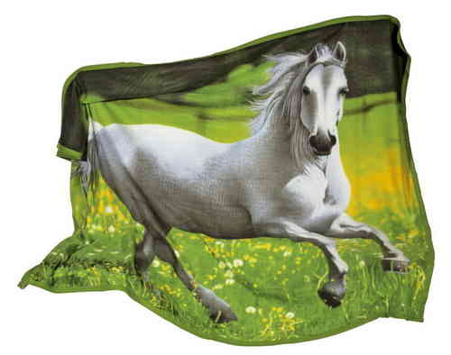 Large Fleece Blanket With a White Horse Galloping Scene Picture Equestrian Girlie Gift Glasgow
