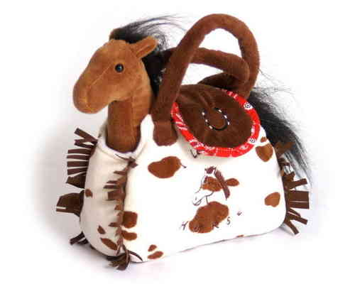 Soft Toy Brown Pony in White & Brown Spotted Handbag Girlie Gift Set