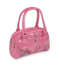 Laura Toy Girl's Pink Cute Double Zipped Handbag Embroidered Pattern