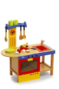 CHILDREN'S TOY WOODEN KITCHEN AND ACCESSORIES COOKER  WITH UTENSILS PLAYSET IN KIRKINTILLOCH GLASGOW