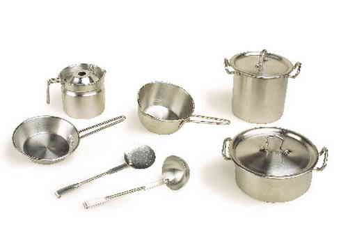 Toy Metal Aluminium Pots and Pans Set 9 piece pans jug cookware kitchen accessory