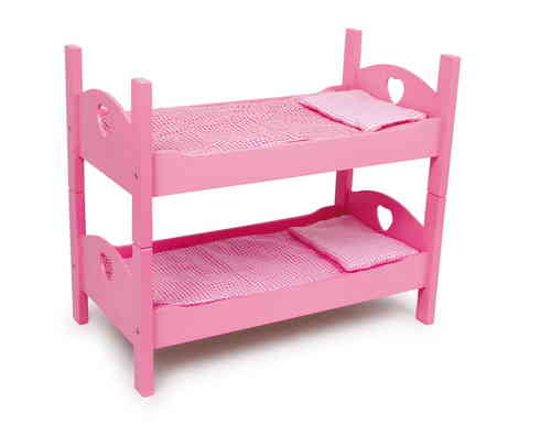 "TOY Wooden Doll's Pink Set Of Bunk Beds or 2 x Single pink beds With Bedding 18"" DollFrom Toys Extra"