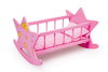 TOY Wooden Doll's 16 Inch Star Pink Rocking Cadle Bed And Bedding