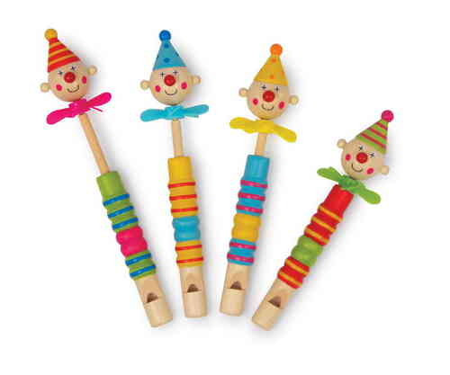 Toy Set Of 4 Wooden Clown Headed Propellor Flutes Slide Whistles Party Bag Gift From Kirkintilloch