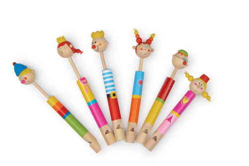 Children's Toy Set Of  6 Wooden Royal Family Flutes Slide Whistles Party Bag Gift From Kirkintilloch